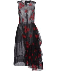 Simone Rocha Floral-embroidered Tulle Dress - Black