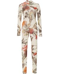 Off-White c/o Virgil Abloh Floral-print Fitted Jump Suit - White