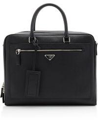 Prada Textured-leather Briefcase - Black