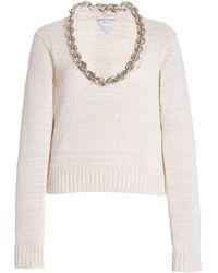Bottega Veneta Chain-detailed Cotton-blend Knit Top - White