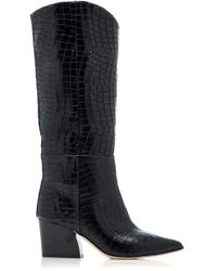 Tibi - Logan Croc-embossed Leather Boots - Lyst
