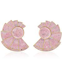 Monica Sordo | Nautilus Earfan 24k Gold-plated Brass Rodonite Earrings | Lyst