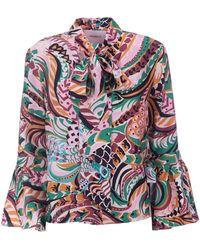 La DoubleJ Happy Wrist Printed Silk Tie-neck Top - Multicolour