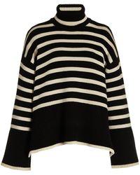 Totême Signature Striped Wool-blend Turtleneck Jumper - Black