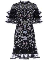 Needle & Thread Meadow Ruffled Sequin Mini Dress - Black