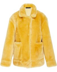 Sally Lapointe - Oversized Shearling Bomber Coat - Lyst