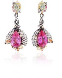 Anabela Chan Exclusive: Fuchsia Sapphire Earrings - Pink