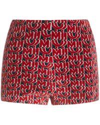 Miu Miu Chenille Monogrammed Cady Shorts - Red