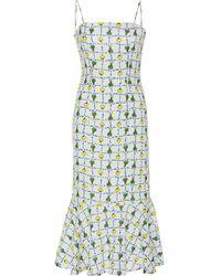 STAUD Lychee Printed Linen Midi Dress - Multicolour