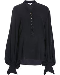 Loewe - Button-detailed Wool Blouse - Lyst