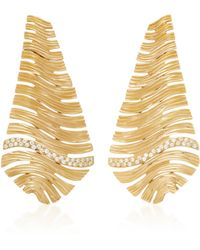 Hueb - Plisse 18k Gold Diamond Earrings - Lyst