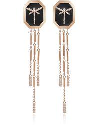Anapsara 1926 Dragonfly 18k Rose Gold Diamond Earrings - Black