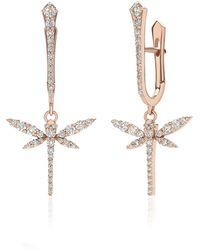 Anapsara Mini Dragonfly 18k Rose Gold Diamond Earrings - Pink
