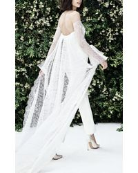Carolina Herrera - Lourdes Strapless Chantilly Lace Jumpsuit With Sweetheart Neckline And Bow Belt - Lyst