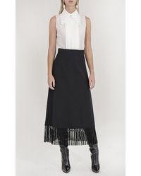 Andrew Gn Fringe Midi Skirt - Black