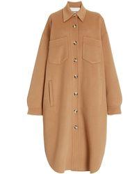 Nanushka Cruza Oversized Wool-silk Shirt Jacket - Brown