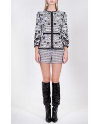 Andrew Gn Floral Embroidered Cotton-blend Jacket - Black