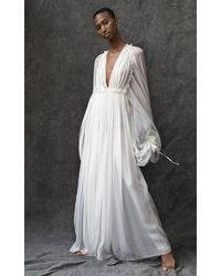 Maison Rabih Kayrouz Long Sleeve Silk Flowy Gown - White