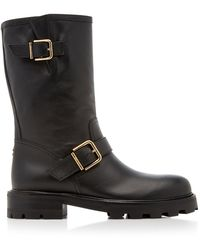Jimmy Choo Biker Textured-leather Boots - Black