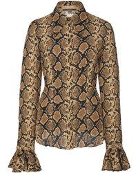 Michael Kors - Bell Sleeve Snakeskin Silk Shirt - Lyst
