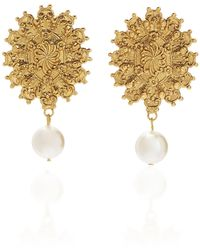 Jennifer Behr - Juno Pearl-drop Gold Earrings - Lyst