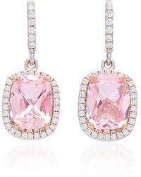 Anabela Chan 18k White Gold Vermeil, Morganite, And Diamond Earrings - Pink