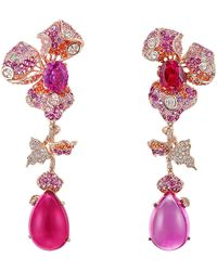 Anabela Chan Sunset Orchid Convertible 18k Rose Gold Multi-stone Earrings - Red