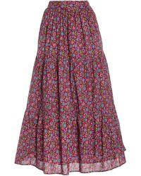 brand: Banjanan Patience Floral-print Cotton Skirt - Purple