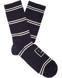 Acne Studios Face Striped Ribbed Cotton-blend Socks - Blue