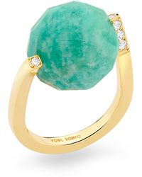 YAEL SONIA Rock Large Twist Amazonite, Diamond 18k Yellow Gold Ring - Blue