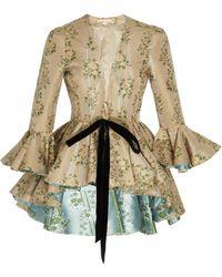 Brock Collection Floral-jacquard Tie-detailed Peplum Jacket - Multicolour