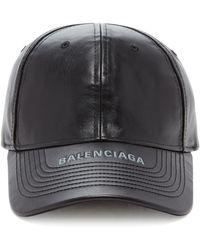 Balenciaga Leather Baseball Cap - Black
