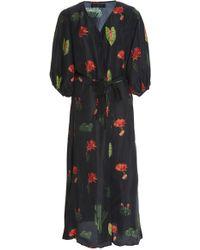 Carolina K - Donna Printed Silk Robe - Lyst