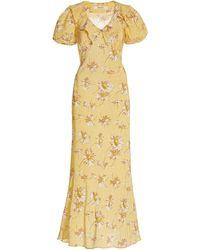 Rodarte - Ruffled Daisy-print Silk Maxi Dress - Lyst