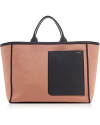 Valextra Canvas Shopping Tote - Pink