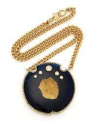 Sheryl Lowe 14k Yellow Gold And Agate Druzy Necklace - Metallic