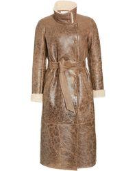 Veronica Beard Xantia Belted Shearling Jacket - Brown