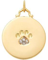 Monica Rich Kosann - M'onogrammable Script 18k Yellow Gold And Diamond Paw Print Charm - Lyst