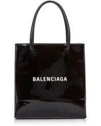 Balenciaga Shopping Xxs Patent Leather Tote Bag - Black