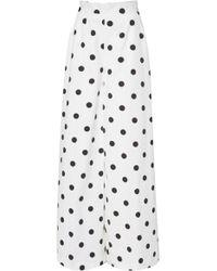 Oscar de la Renta - Polka-dot Cotton Wide-leg Trousers - Lyst