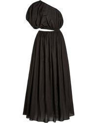 Matteau Cocoon Cotton Voile One-shoulder Maxi Dress - Black
