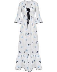 Lug Von Siga Diana Floral Linen Dress - White