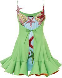 Versace Crystal-embellished Satin Mini Dress - Green