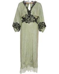 Costarellos Gossamer Lace-trimmed Chantilly Lace Midi Dress - Green