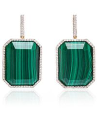 Mateo White Gold, Malachite And Diamond Earrings - Green