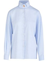 Giuliva Heritage Collection Savannah Cotton Twill Button Down Shirt - Blue
