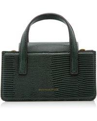 Marge Sherwood Mini Square Lizard-effect Leather Top-handle Bag - Green