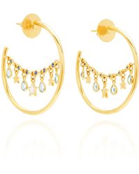 Buddha Mama 20k Small Lantern Hoop Earrings - Metallic