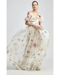 Oscar de la Renta Floral Printed Silk Gown - Multicolour