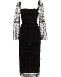 Self-Portrait Flocked Mesh Midi Dress - Black